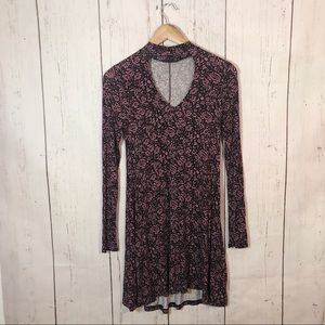 Express Purple Floral Long Sleeve Keyhole Dress